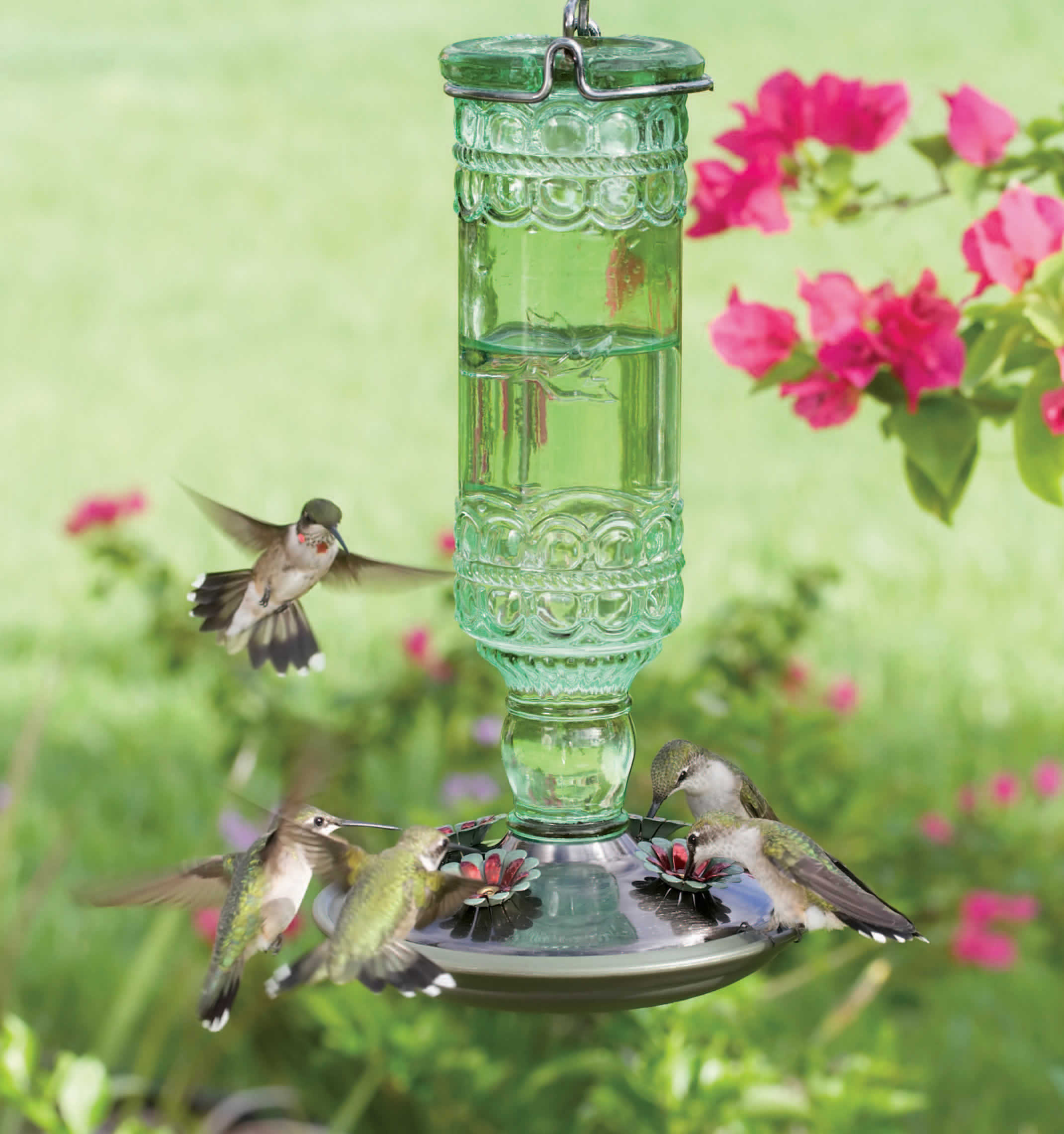 humingbird feeder green duncraft glass antique hummingbird com zoom
