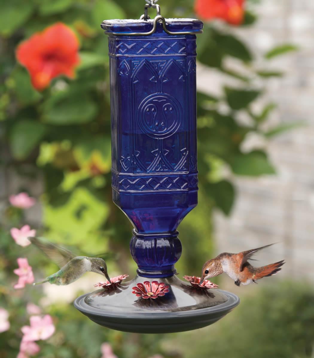 Duncraft Com Cobalt Antique Bottle Hummingbird Feeder