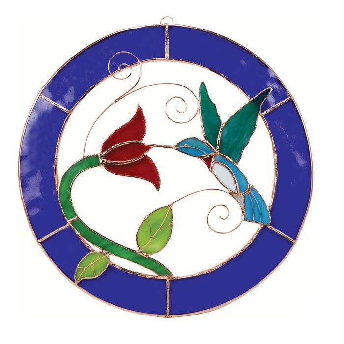 Duncraft.com: Hummingbird Blue Cirlcle Framed Stained Glass
