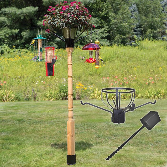 Duncraft.com: Flower Pot Holder with Four Arm Hangers & 4x4 Post Auger