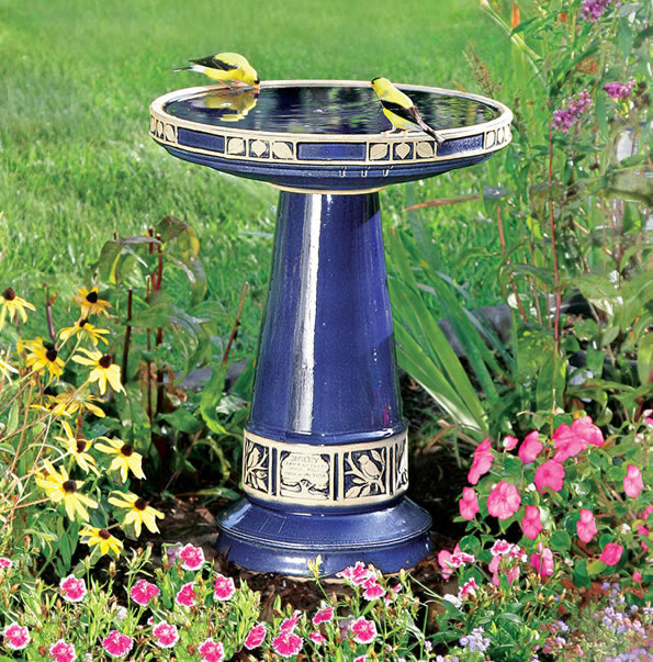 Zanesville Bird Bath Cobalt Blue