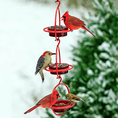 Red Hanging Sphere Feeder, Set of 3