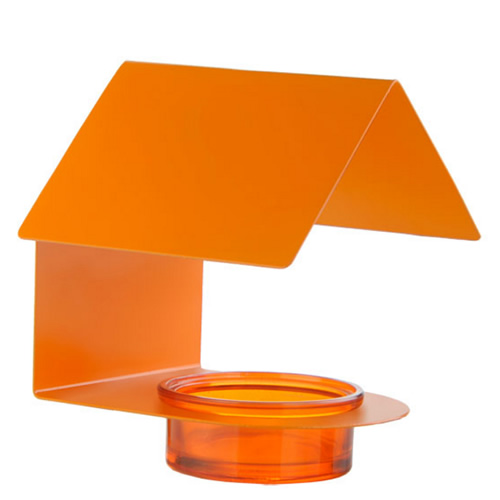 Orange Metal Glass House Bird Feeder