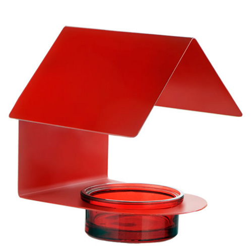 Red Metal Glass House Bird Feeder