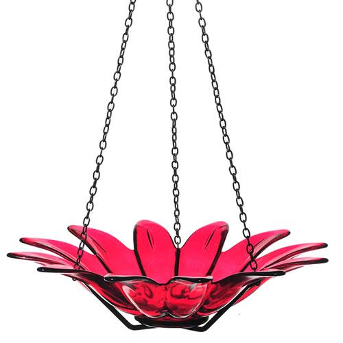 "12"" Hanging Glass Daisy Bird Bath, Red"