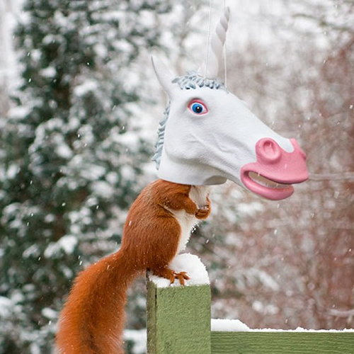 Big Unicorn Head Squirrel Feeder