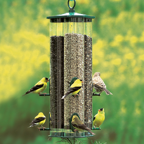 Combine up to three types of seed!  The Triple Tube Deluxe is 17-1/2 inches tall, has six feeding stations and holds up to 4 pounds of seed. You can fill each of the three tubes with a different seed to attract a variety of birds to this one feeder.  This Duncraft feeder has our durable metal cap, base, and seed ports. The tubes are recycled resin, more durable than ordinary plastic. Made in the USA.