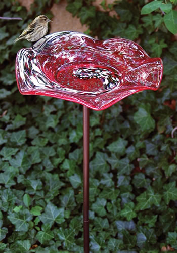 Illuminarie Red Swirl Bird Bath