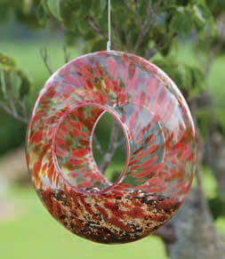 Glass Bird Feeder Red
