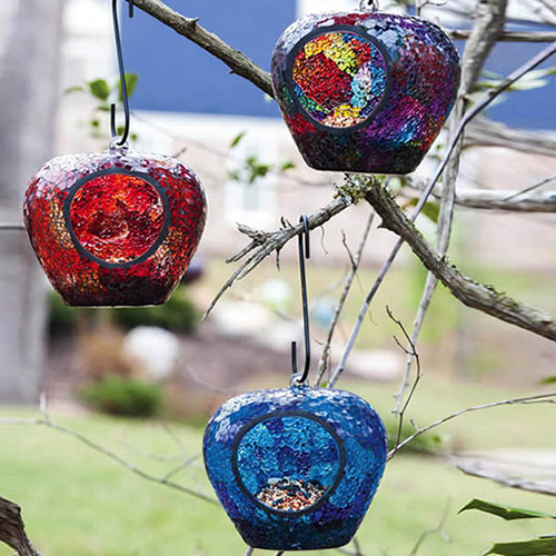 Hanging Apple Shaped Mosaic Feeders