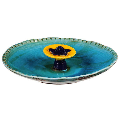 """12"""" Bee Bath, Ceramic, Turquoise with Yellow Flower"""