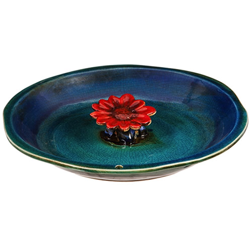 """12"""" Bee Bath Ceramic, Blue with Red Flower"""