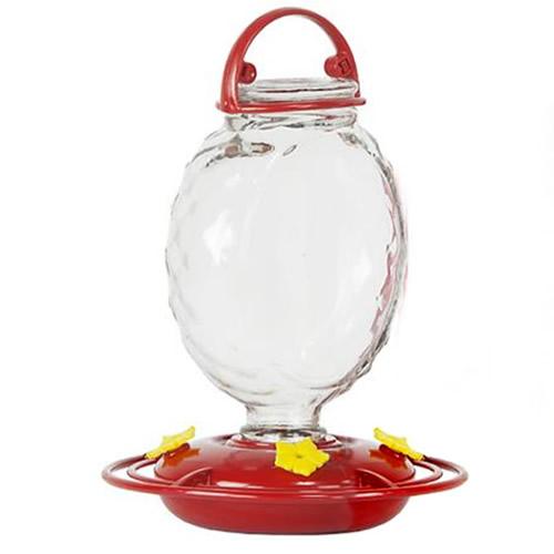 13 oz. Crystal Mirror Glass Hummingbird Feeder
