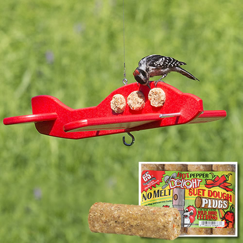 Airplane Suet Log Feeder