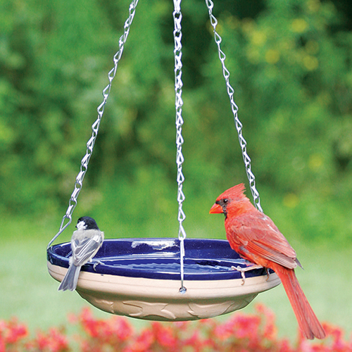 Hanging Blue Glazed Birdbath
