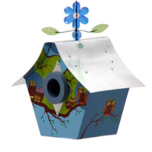 The Owl Family Retro Bird House