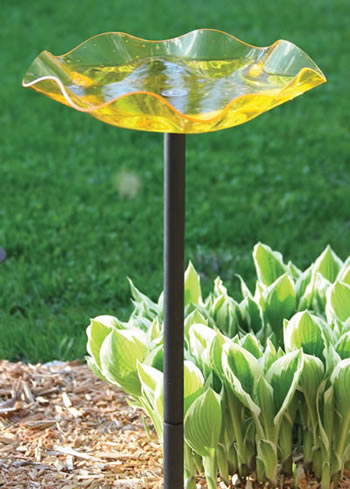 Yellow Swirl Bird Bath