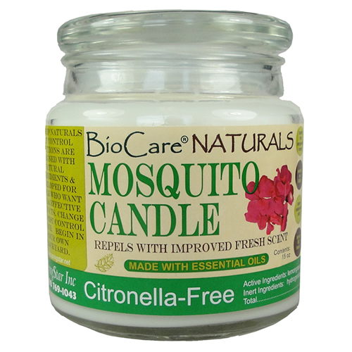 Finally a fresh scent candle that really works to repel mosquitoes BioCare® Naturals Mosquito Candles are perfect for patios and decks.  The candles are made with essential oils and provide a natural mosquito repellent. Unique, safe formula. The candles are made of soy. Effective on a wide range of mosquitoes. This large 15 oz candle will liquefy and burn for 60 + hours.