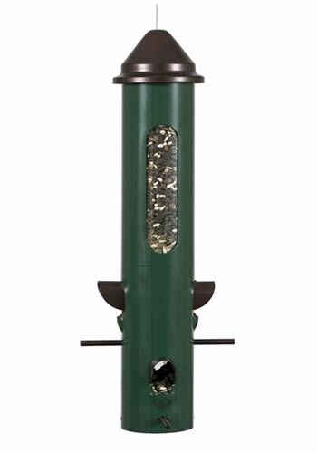 Convenient perch hoods to shelter birds while they feedThe Perky-Pet Seed Bunker Wild Bird Feeder features an all metal tube, perches, perch hood, and lid which provides maximum durability against squirrels. This robust and long-lasting feeder can withstand most weather elements and can be used all year round. The feeder can hold 1-1/2 lbs of seed and features four feeding ports. Dimensions 6-1/2 x 16-1/4 inches.