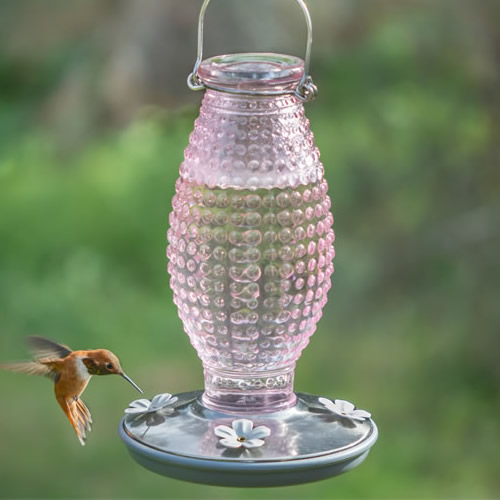 Cranberry Hobnail Hummingbird Feeder
