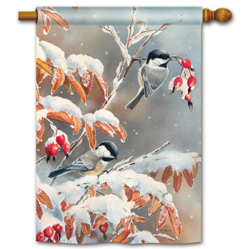 Winter Day Chickadees Standard Flag