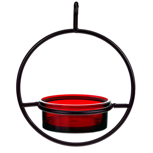 Red Hanging Sphere Mealworm Feeder