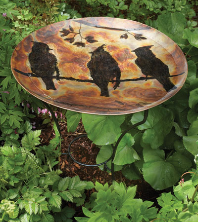 Flamed 2 Tier Cedar Waxwing Bird Bath