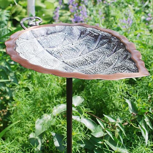 Aspen Leaf Bird Bath with Stake