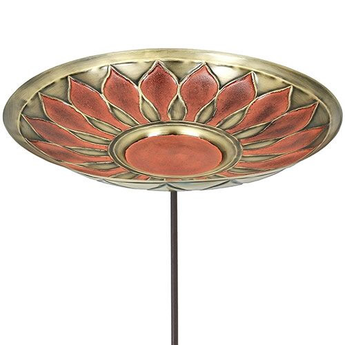 Red African Daisy Bird Bath with Stake