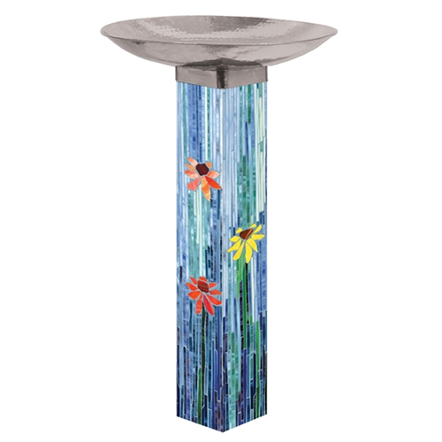Mosaic Watercolor Birdbath
