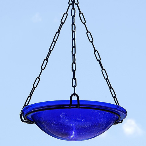 Cobalt Blue Glass Hanging Bird Bath