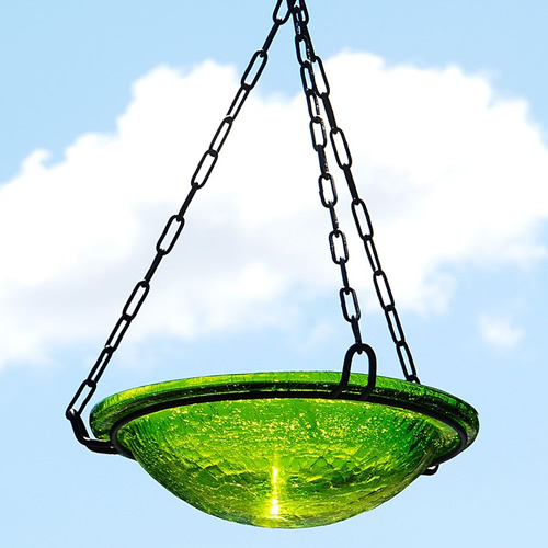 Fern Green Glass Hanging Bird Bath