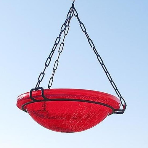 Red Glass Hanging Bird Bath