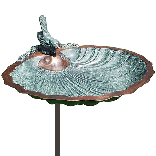 Scallop Shell Bird Bath with Stake