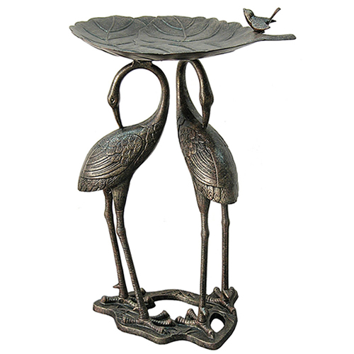 Heron and Lily Pad Birdbath with Iron Stand