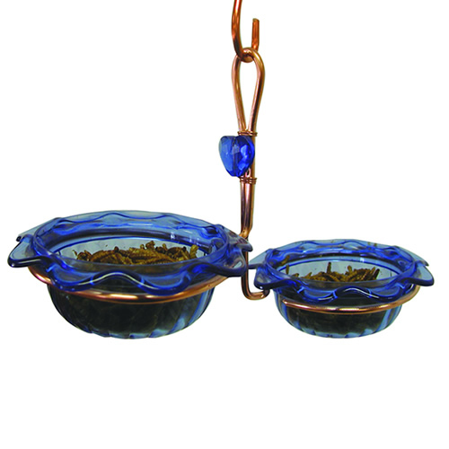 Copper Bluebird Double Dish