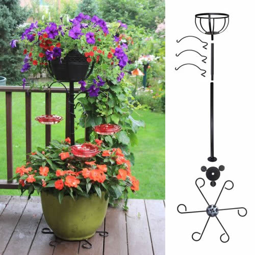 Container Hummingbird Pole with Basket and Hooks