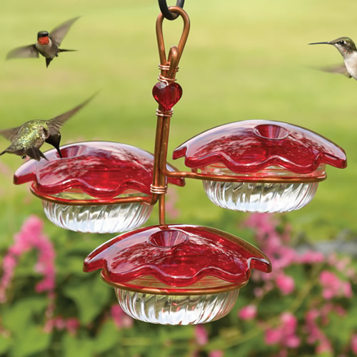 Copper Trio Hummingbird Feeder