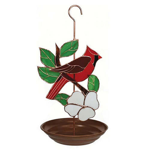 Stained Glass Cardinal Bird Feeder (GE180) photo