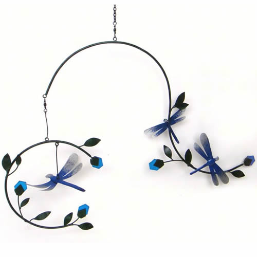Dragonfly Metal and Glass Mobile