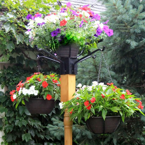Flower Pot Holder with Four Arm Hangers and 4 x 4- Post Auger