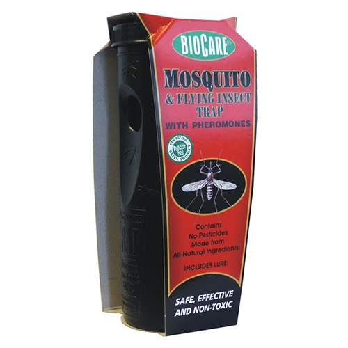 Silent mosquito trap works 24/7.This inventive trap and lure uses natural mosquito pheromones to attract egg-bearing females. Mosquitoes drown before they can become pests or lay their eggs to create more pests! Simply mix 4 cups of warm water, add swamp vegetation pellets (included), stir, then add lure. Trap begins to work in just 7 to 10 days. The average yard requires two traps for maximum efficiency (8 traps per acre). Water and lure should be replaced every 5-6 weeks as needed. Additional lures are sold separately, item #1802.