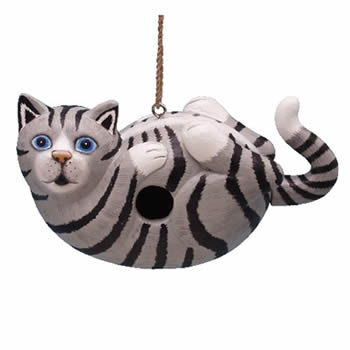 Grey Tabby Cat Bird House