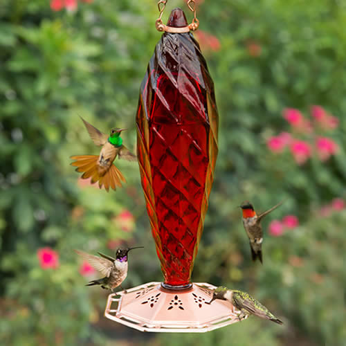 Crystal Spiral Glass Hummingbird Feeder