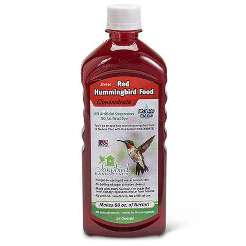 Attract hummingbirds with all natural red nectar!Feed tiny hummingbirds delicious and all natural red nectar! Made from 100% sucrose, similar to the nectar found in nature and preferred by birds. No boiling and no messy cleanup.    16 oz. bottle makes 80 oz. of nectar Add water for hummingbird-friendly nectar All natural red liquid nectar concentrate No artificial sweeteners or dyes Made in the USA