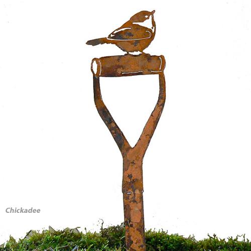 Rustic Bird Shovel Handle